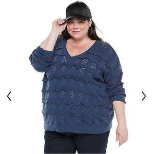Evri 4X Wavy Fringe Pointelle Sweater